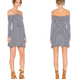 Lovers + Friends Striped Off-the-Shoulder Dress
